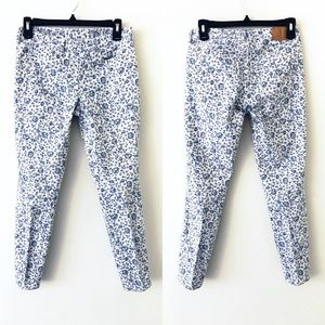 MADEWELL Blue Floral Skinny Ankle Jeans
